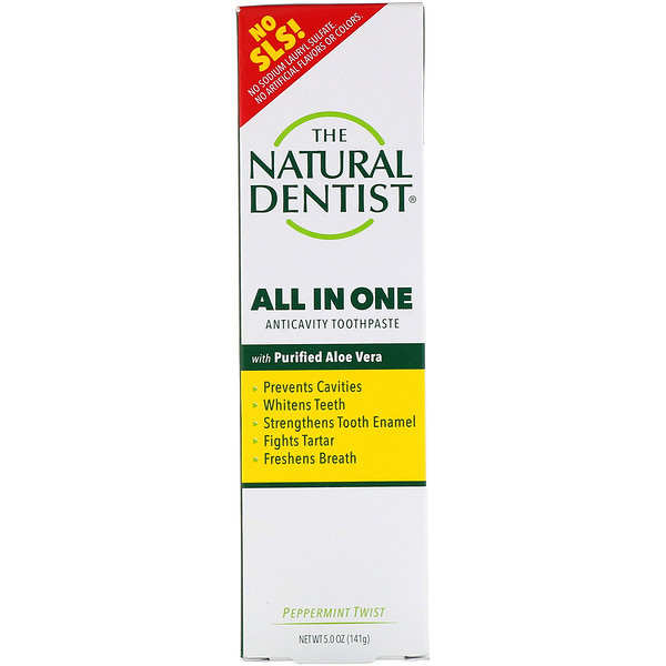 The Natural Dentist, All In One, Anticavity Toothpaste with Purified Aloe Vera, Peppermint Twist, 5.0 oz (142 g) (Discontinued Item)
