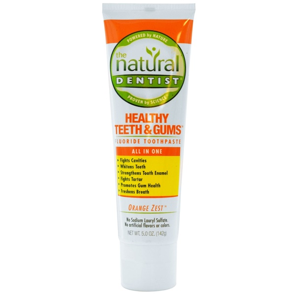 The Natural Dentist, Healthy Teeth & Gums, Fluoride Toothpaste, Orange Zest, 5.0 oz (142 g) (Discontinued Item)