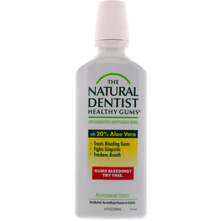 The Natural Dentist, Gengivas Saudáveis, Enxaguante Bucal Contra Gengivite e Placa, Hortelã Twist, 16,9 fl oz (500 ml)