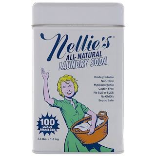 Nellie's All-Natural, Laundry Soda, 100 Loads, 3.3 lbs (1.5 kg)