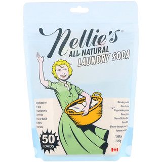 Nellie's, オールナチュラル、洗濯用ソーダ、1.6 lbs (726 g)