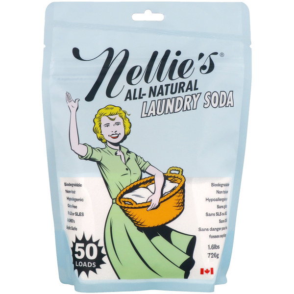 Nellie's All-Natural, ランドリーソーダ(重曹洗濯剤)、無香料、1.3 lbs (.6 kg)
