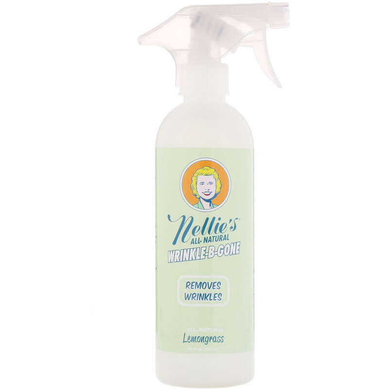 Nellie's, All-Natural, Wrinkle-B-Gone, Removes Wrinkles, Lemongrass, 16 fl oz (474 ml)
