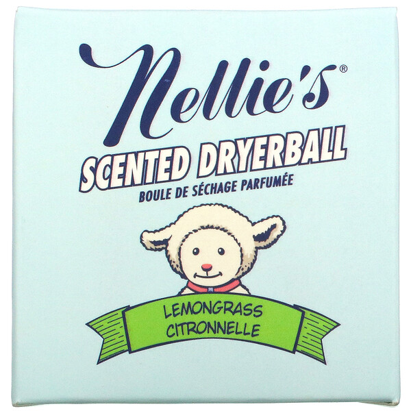 Scented Wool Dryerball, Lemongrass, 50 Loads