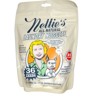 Nellie's All-Natural, Laundry Nuggets, 36 Loads, 1.13 lbs, 1/2 oz