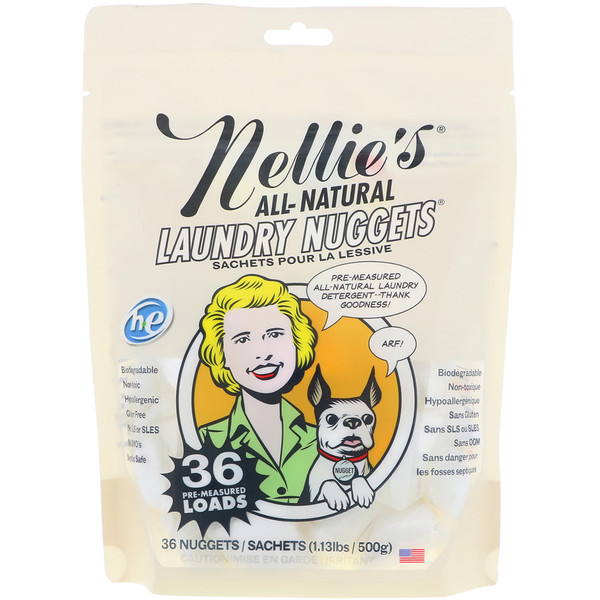 Nellie's, All Natural, Laundry Nuggets, 36 Loads, 1.13 lbs (500 g)