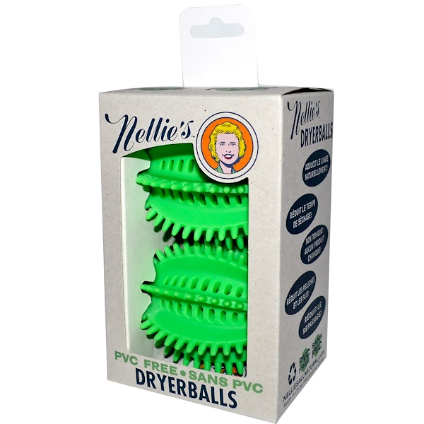 Nellie's All-Natural, Dryerballs, PVC Free, Green, 2 Pack (Discontinued Item)