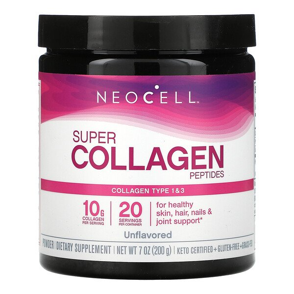 Super Collagen Peptides, Unflavored, 7 oz (200 g)