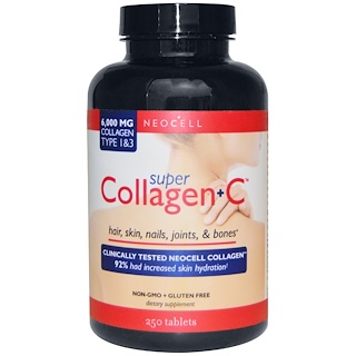 Neocell, Super Collagen + C, Type 1 & 3, 6,000 mg, 250 Tablets