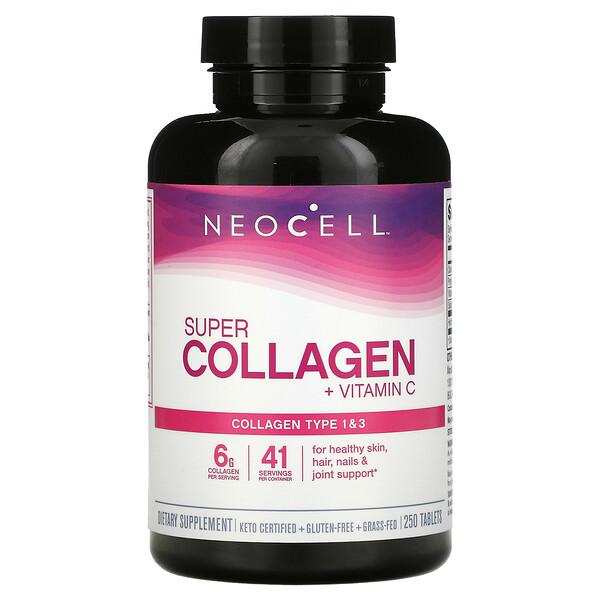 Super Collagen + Vitamin C, 250 Tablets