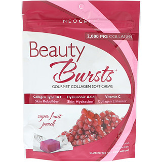 Neocell, Beauty Bursts, Gourmet Collagen Soft Chews, Super Fruit Punch, 2,000 mg, 60 Soft Chews