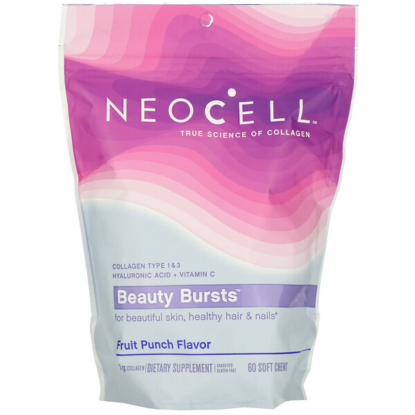 Neocell, Beauty Bursts, Fruit Punch Flavor, 2 g , 60 Soft Chews