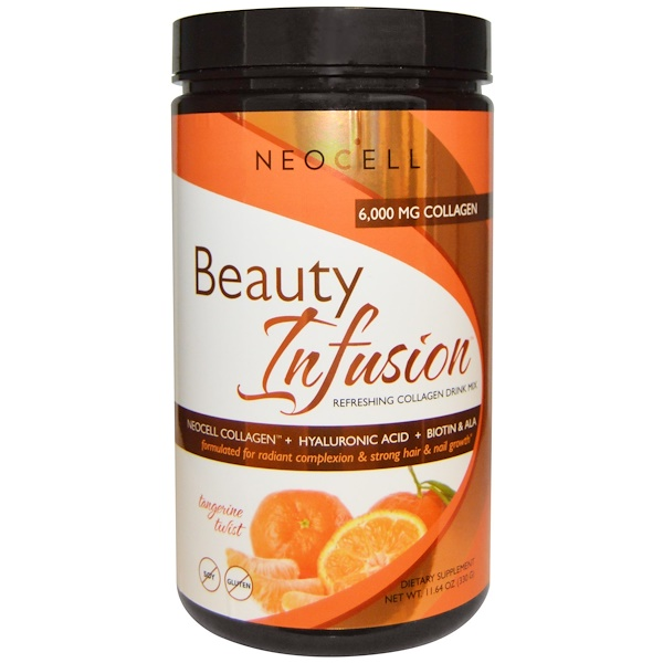 Neocell, Beauty Infusion, освежающий коллагеновый коктейль, мандариновый, 330 г