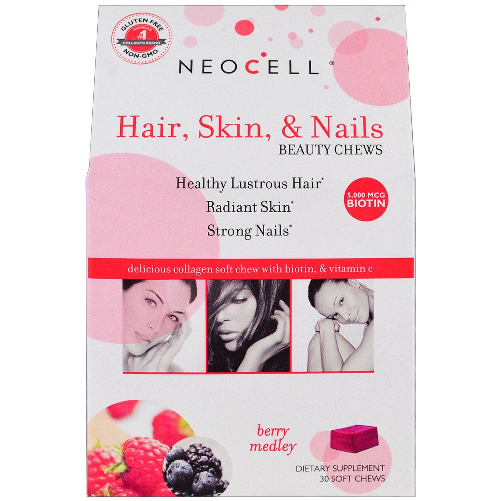 Neocell, Жевательные конфеты для кожи, волос и ногтей, смесь ягод, 30 мягких жевательных конфет