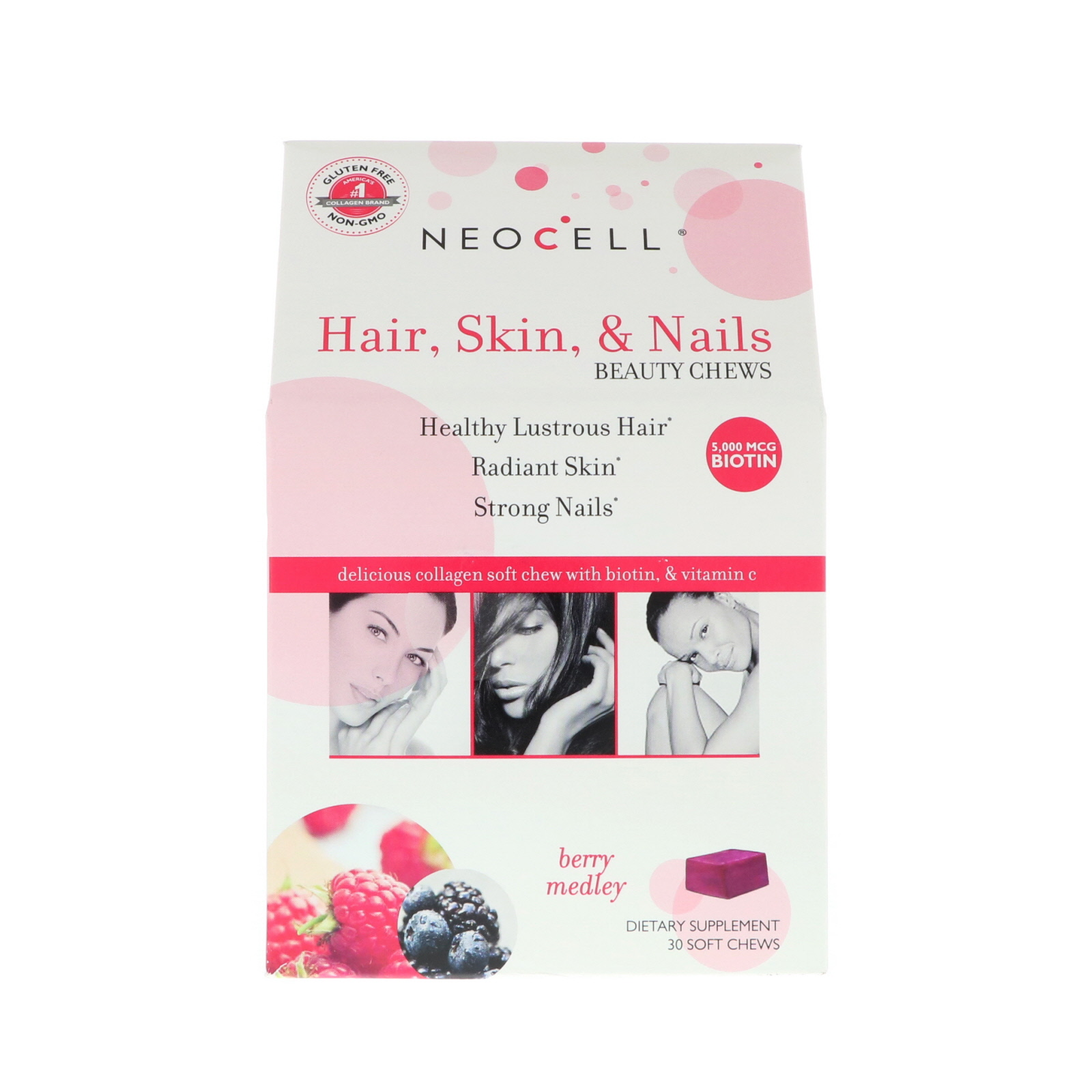 Neocell Hair Skin Nails Beauty Chews Berry Medley 30