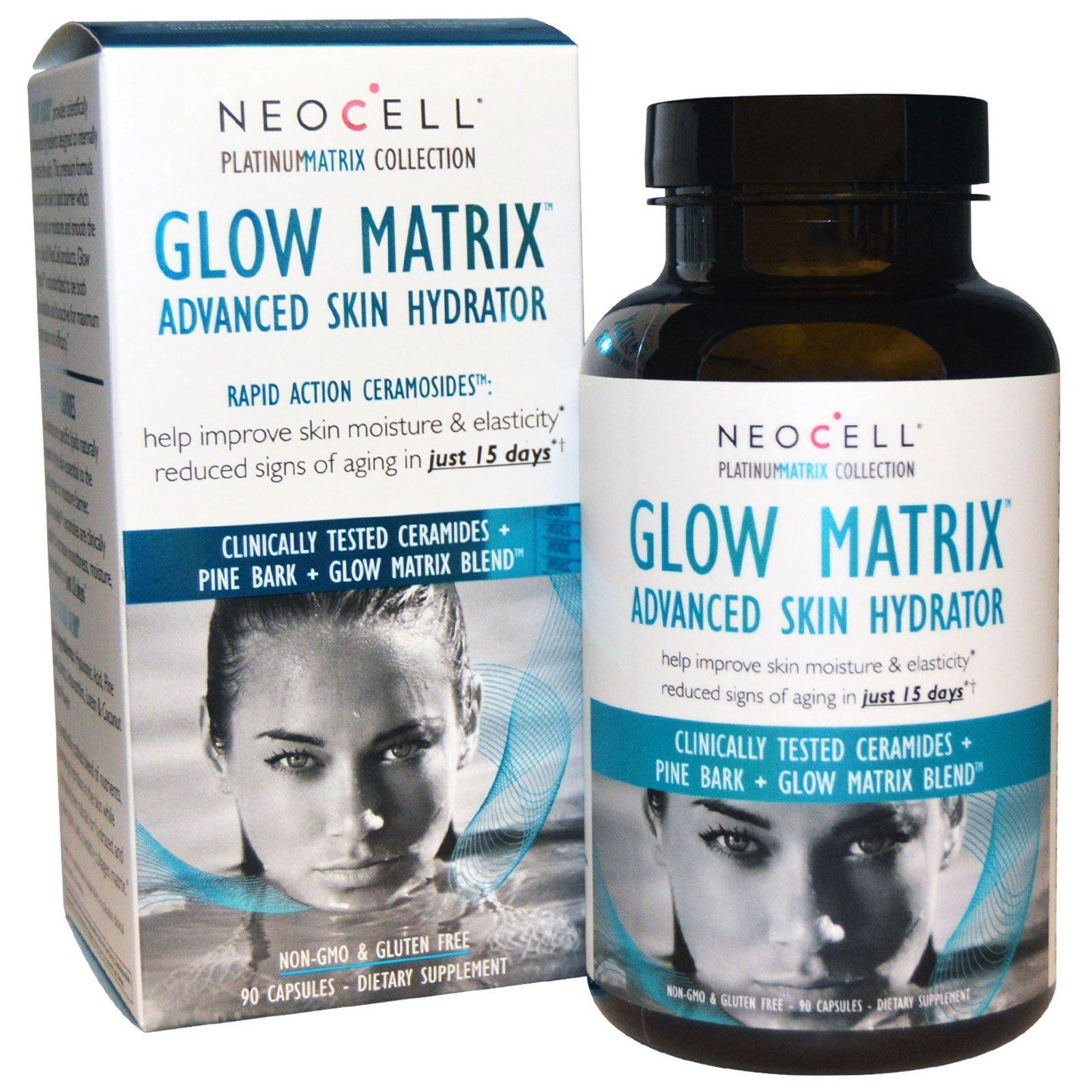 Neocell, Улучшенный увлажнитель кожи Glow Matrix, 90 капсул