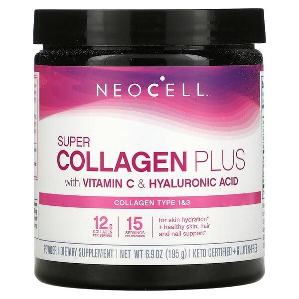 Super Collagen Plus with Vitamin C & Hyaluronic Acid, 6.9 oz (195 g)