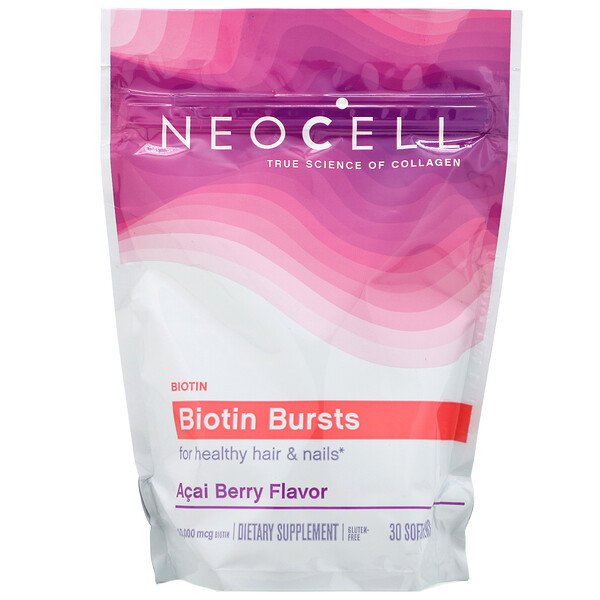 Neocell, Biotin Bursts,  Acai Berry Flavor, 10,000 mcg , 30 Soft Chews