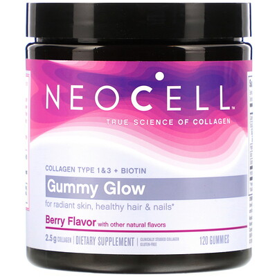 Купить Neocell Gummy Glow, Collagen Type 1 & 3 + Biotin, Berry, 120 Gummies