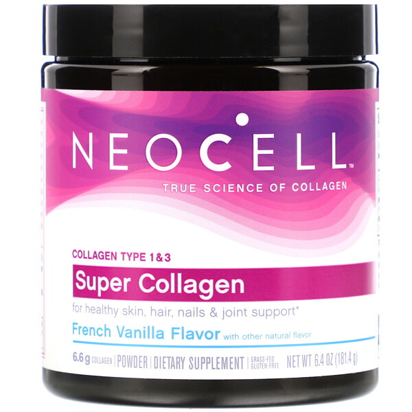Super Collagen, Type 1 & 3, French Vanilla, 6.4 oz (181.4 g)