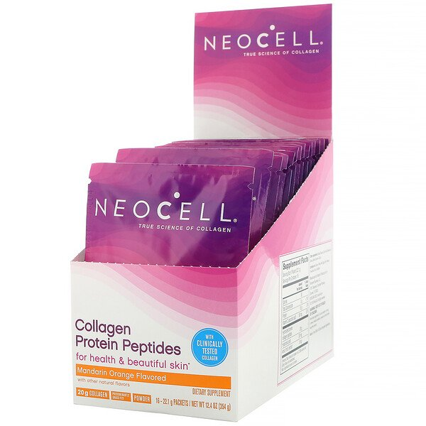 Neocell, Collagen Protein Peptides, Mandarin Orange, 16 Packets, .78 oz (22 g) Each