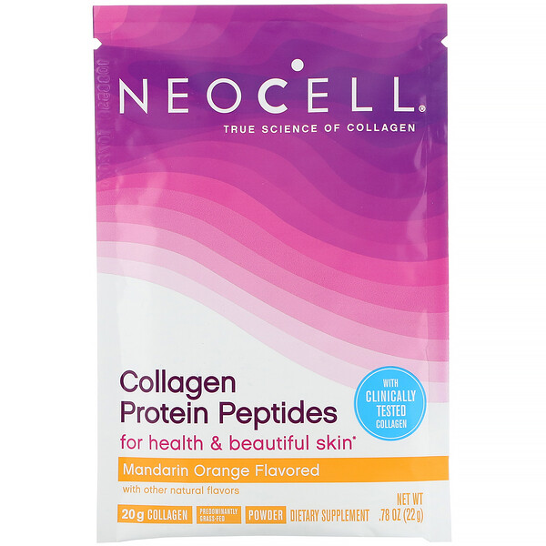 Collagen Protein Peptides, Mandarin Orange, .78 oz (22 g)