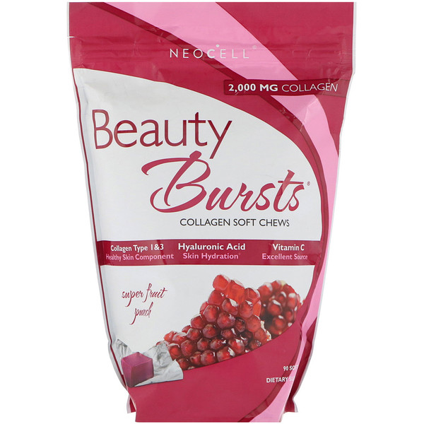 Neocell, Beauty Burst, Collagen Type 1 & 3, Super Fruit Punch, 2,000 mg, 90 Soft Chews (Discontinued Item)