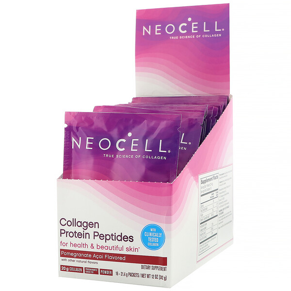 Neocell, Collagen Protein Peptides, Pomagranate Acai, 16 Packets, .75 oz (21 g) Each
