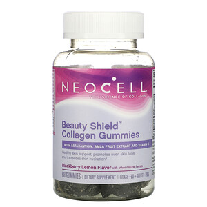 Neocell, Beauty Shield, Collagen Gummies, Blackberry Lemon, 60 Gummies