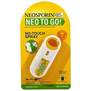 Neosporin, El alivio del dolor, ¡Neo a Go!, primeros auxilios/aerosol antiséptico de alivio del dolor, 0.26 fl oz (7.7 ml).
