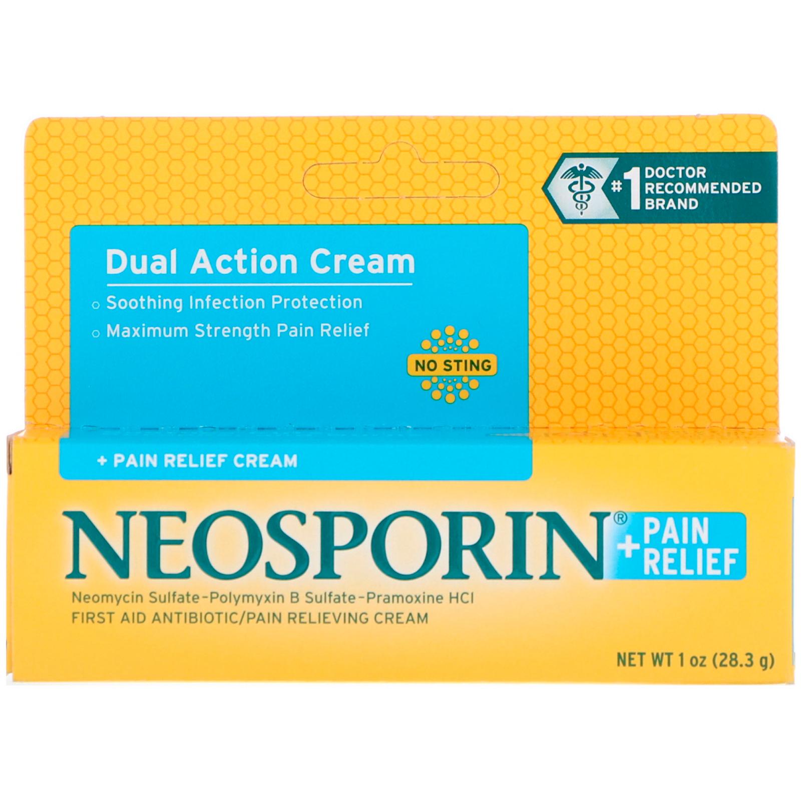 Neosporin, Dual Action Cream, Pain Relief Cream, 1 oz (28 3 g)