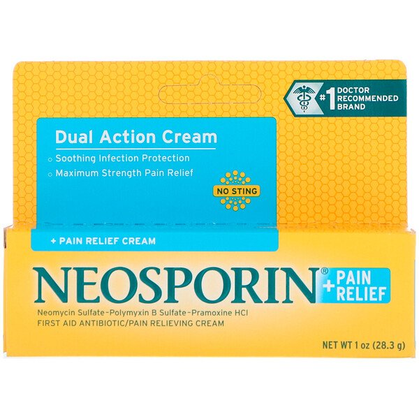 Neosporin, Dual Action Cream, Pain Relief Cream, 1 oz (28.3 g)