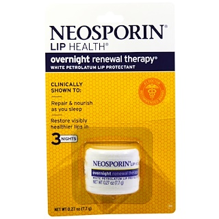 Neosporin, Overnight Renewal Therapy, White Petrolatum Lip Protectant, 0.27 oz (7.7 g)