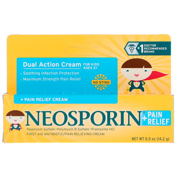 Neosporin, Dual Action Cream, Pain Relief Cream, For Kids Ages 2 +, 0.5 oz (14.2 g)