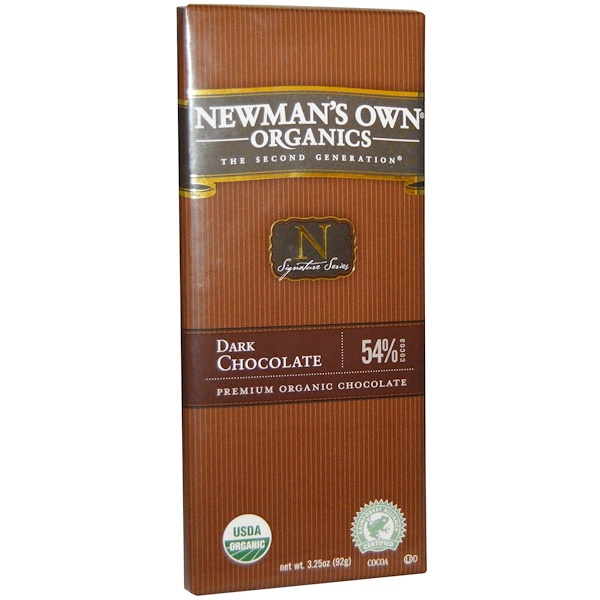 Newman's Own Organics, Dark Chocolate Bar, 3.25 oz (92 g)
