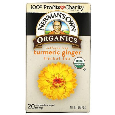 Newman's Own Organics Herbal Tea, Turmeric Ginger, Caffeine Free, 20 Tea Bags, 1.6 oz (45 g)