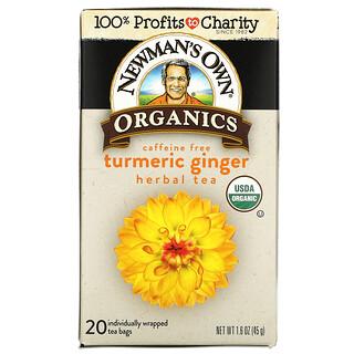 Newman's Own Organics, Herbal Tea, Turmeric Ginger, Caffeine Free,  20 Tea Bags, 1.6 oz (45 g)
