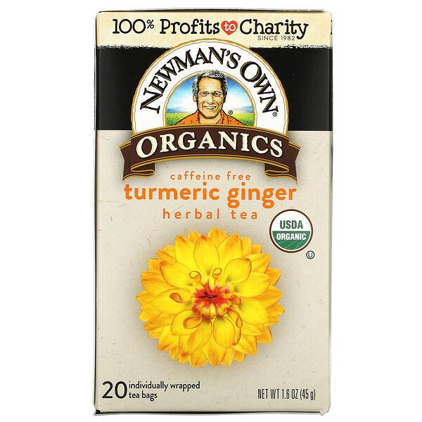 Herbal Tea, Turmeric Ginger, Caffeine Free,  20 Tea Bags, 1.6 oz (45 g)