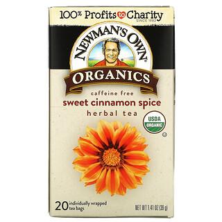Newman's Own Organics, Caffeine Free, Herbal Tea, Sweet Cinnamon Spice, 20 Tea Bags, 1.41 oz (39 g)