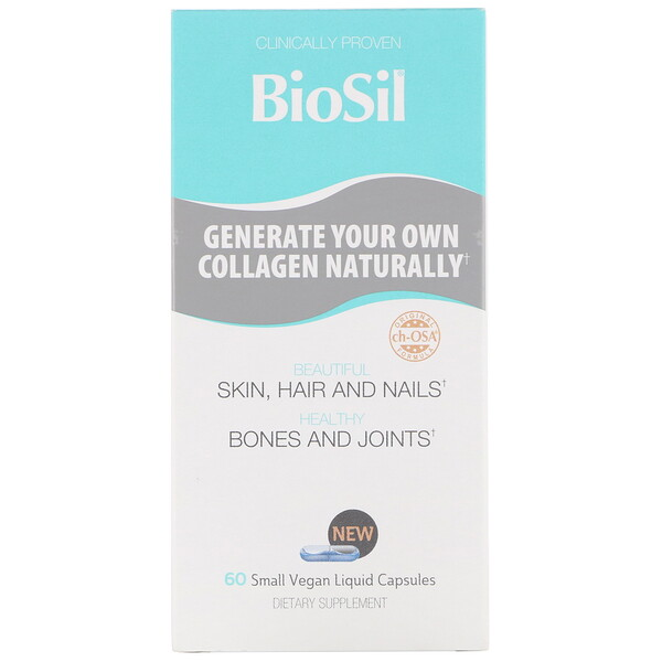 BioSil by Natural Factors, Advanced Collagen Generator, 60 Small Vegan Liquid Capsules