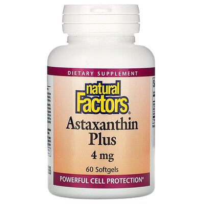 Natural Factors Astaxanthin Plus, 4 mg, 60 Softgels
