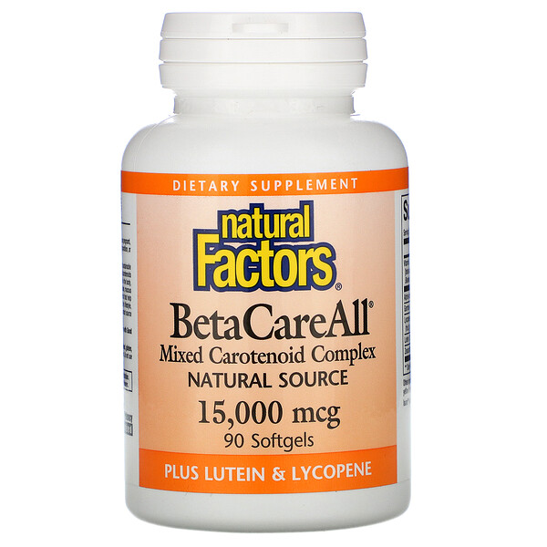 Natural Factors, BetaCareAll, 15,000 mcg, 90 Softgels