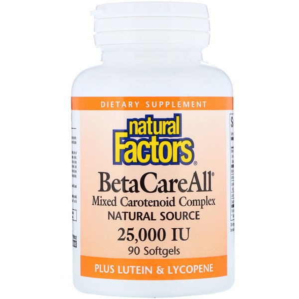 Natural Factors, BetaCareAll Plus Lutein & Lycopene, 25,000 IU, 90 Softgels