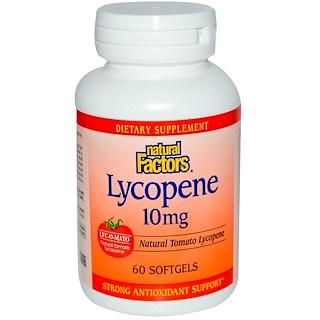 Natural Factors, Ликопин, 10 мг, 60 мягких капсул