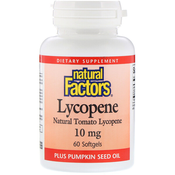 Natural Factors, Lycopène, 10 mg, 60 Gélules souples