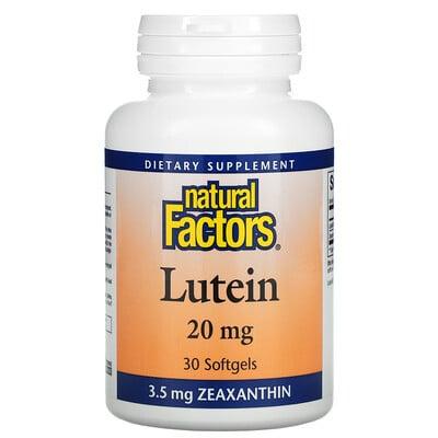 Купить Natural Factors Lutein, 20 mg, 30 Softgels