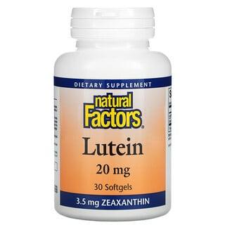 Natural Factors, 叶黄素,20 毫克,30 粒软凝胶