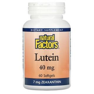 Natural Factors, لوتين، 40 ملجم، 60 كبسولة هلامية