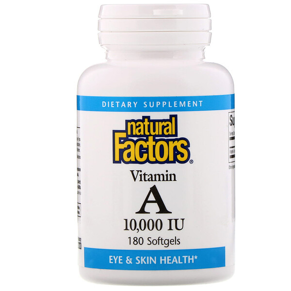 Natural Factors, Vitamine A, 10.000 UI, 180 gélules