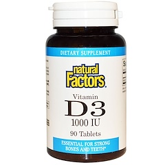Natural Factors, Vitamina D3, 1000 UI, 90 Tabletas